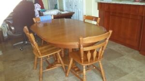ROXTON MAPLE TABLE CHAIRS AND CHINA CABINET $650