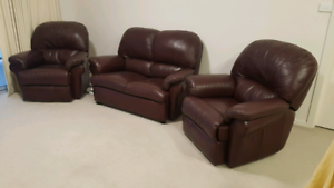 Recliner Leather sofa 3 piece set for sale
