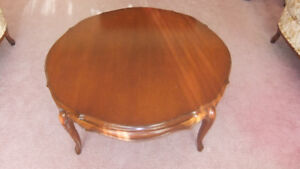 round solid  walnut wood coffee and end table set