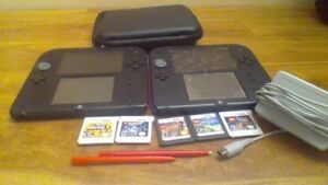 2 - 2DS's with 6 games, 1 charger and 1 carrying case.