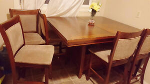 almost new counter top extendable dining table with 6 chairs