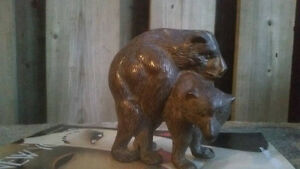 Vintage Rare Brass Grizzly Bear Mating Sculpture Paper Weight