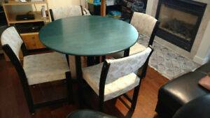 Solid Oak Green Top Dining Table