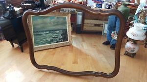 VERY LARGE VINTAGE 41 BY 34 INCHES WALL MOUNT MIRROR IN PLASTIC
