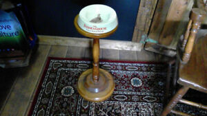 vintage ceramic famous grouse ashtray and hard wood stand