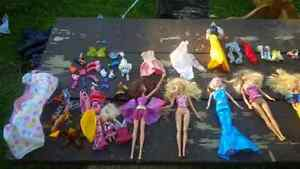 collection of barbies and accessories