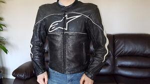 Alpinestars Black/White Leather Motorcycle Jacket