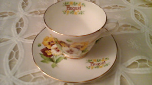 FINE BONE CHINA TEACUP, AUGUST, CROWN TRENT
