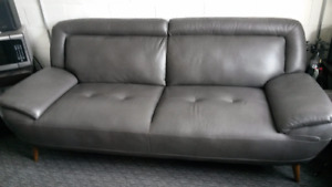 Roxy Bonded Leather Grey Couch and Matching Chair-and-a-Half