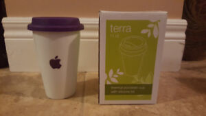 Terra 11 oz. Thermal Porcelain Cup Silicone Lid - Purple with Ap