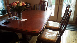 dining room table, chairs and buffet hutch