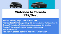 Rideshare Waterloo (BK) to Toronto (UnionS) today at 6:00 PM