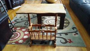 Wood End Table With Magazine Rack
