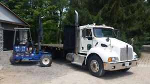 2008 Kenworth t300 flatbed with Princeton truck mounted forklift
