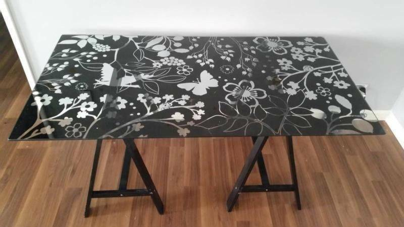 Ikea glasholm vika nature pattern glass table desks gumtree