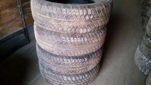Set of 4 Bridgestone Dueler AT 255/70R18 tires (75% tread life)