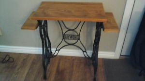 ANTIQUE RAYMOND SEWING TABLE W/OAK TOP