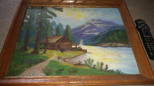 Amazing vintage yarn art framed picture in great condition!!!!!!
