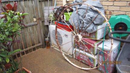 Antique Wagon Wheels X2 (Huge)They have surface rust but no holes