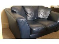 Dark Blue Leather 2-Seater Sofa & Armchair