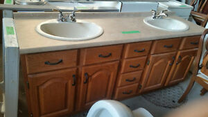 Oak Vanity with 2 New White Porcelain Sinks