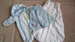 Boys bunting coverall + sleeping bag + blanket 0-3m