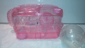 Pink hamster cage and ball