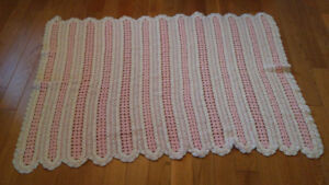Beautiful Croched Pink & White Baby Girl Blanket *very large!*