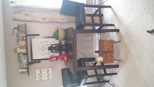 Pub Height Square Table with 2 Leather Chairs