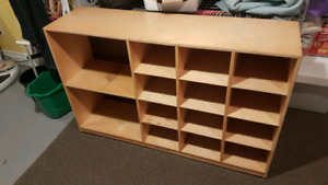 Wooden rolling shelving unit