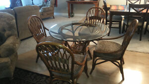 REDUCED ---Rattan Dinette w/ 4 Chairs
