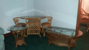 5 pieces of Boca Rattan (3 glass top tables & 2 chairs)