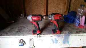 Milwaukee 18v drill and impact driver. Bare tools only.