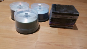 Unused DVD and CD disks.