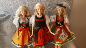 BARBIE DOLLS LOT OF 3 MATTEL (1999-2015) IN FESTIVE COSTUMES