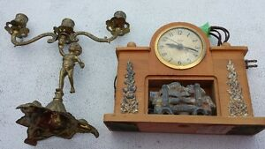 United Clock w/fireplace and Cherub Candle holder