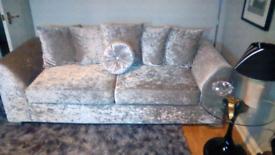 3 2 seater sofa silver crushed velvet sofa