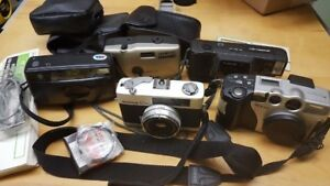 5 cameras including Konica C35 film camera