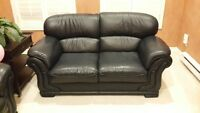 2 seater high quality black leather couch