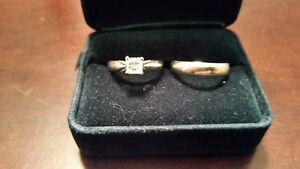 .62 Ct Princess cut diamond solitaire white gold ring and band