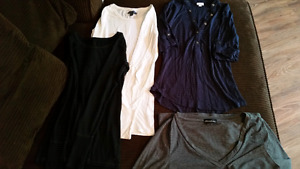 3 - XS shirts 1 - M.  AE, suzy shier, long sleeves