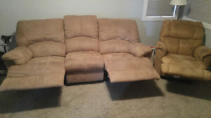 Reclining sofa and chair for sale