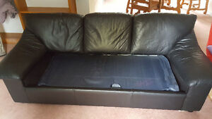 Leather couch Hide-a-Bed