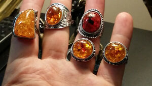 sterling silver rings with amber stones Gatineau Ottawa / Gatineau Area image 1