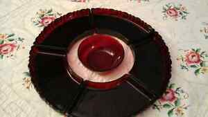 RED PRESSED GLASS LAZY SUSAN  SET -6 PIECES - FRANCE