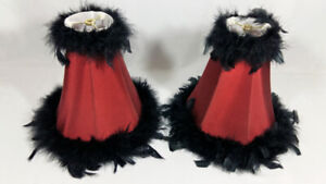 Lamp Shades Black Feather Red Maroon in Color, Gothic Victorian