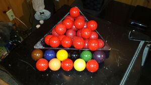 Pool Table Balls...cues....billiard balls
