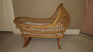 Old Wicker Baby Bassinet