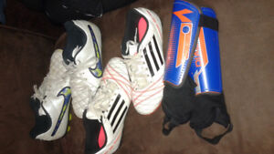 Soccer shin pads and indoor shoes