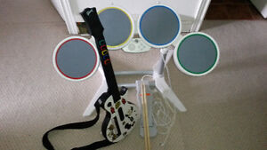 Wii Rockband Guitar and Drum Set